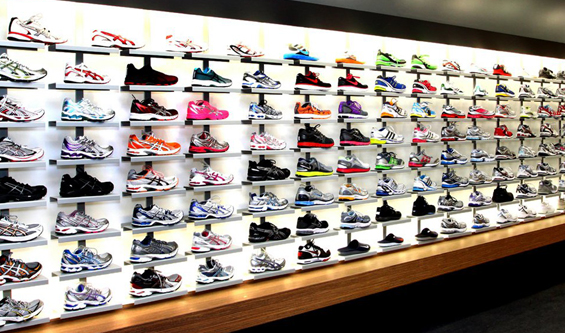 Running Shoes on Shelf in Store